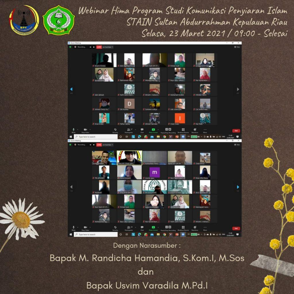 Webinar perdana sukses dilaksanakan Hima Prodi KPI Stain SAR
